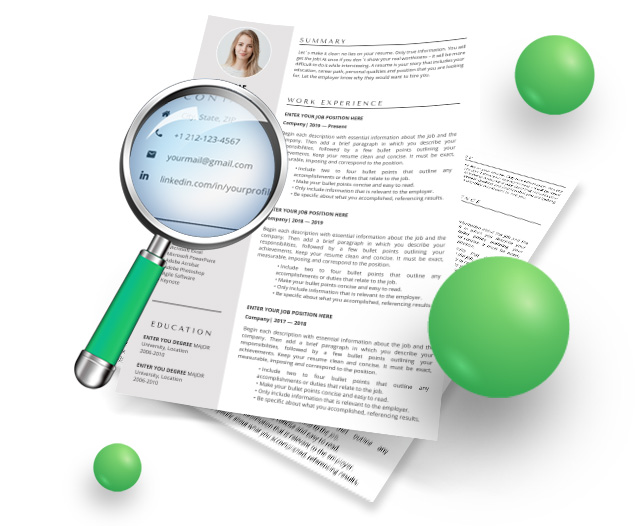 resume template contacts